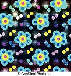 gyönyörű, színes, motívum, elvont, seamless, black háttér, menstruáció