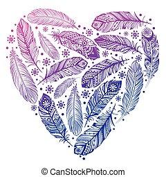 gyönyörű, szív, tollazat, valentines nap