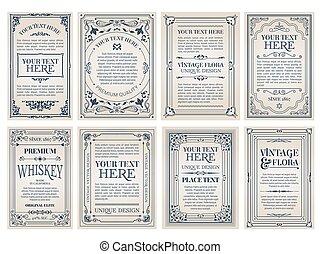 gyönyörű, szüret, orname, kreatív, flourishes, sablon, kártya