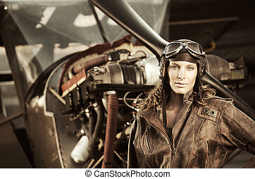 gyönyörű, szüret, pilot:, nő, fénykép