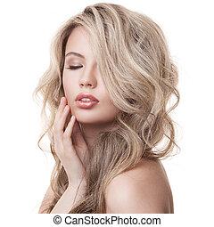 gyönyörű, szőke, girl., egészséges, hosszú, göndör, hair.