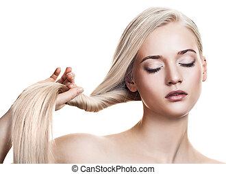 gyönyörű, szőke, girl., egészséges, hosszú, hair., hely, helyett, szöveg