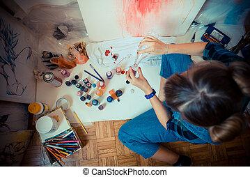 gyönyörű, szőke, woman szobafestő