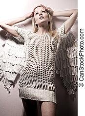 gyönyörű, szőr, angyal, felett, meztelen, háttér, fehér