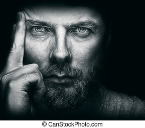 gyönyörű, szakáll, szemek, ember, jelentékeny