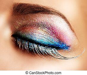 gyönyörű szem, ünnep, make-up., hamis, izgat