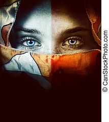 gyönyörű szem, nő, függöny