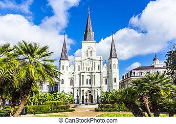 gyönyörű, szent louis cathedral, alatt, a, francia...