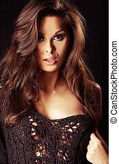 gyönyörű, szexi, brunet