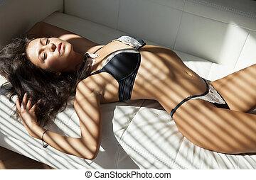 gyönyörű, szexi, nő, női fehérnemű