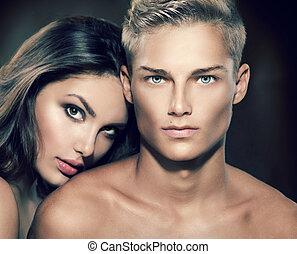 gyönyörű, szexi, párosít, portrait., formál, ember, noha,...
