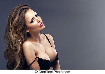 gyönyörű, szexi, szőke, woman van, hord black, érzéki, női...