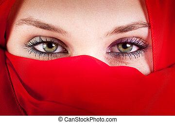 gyönyörű, szexi, szemek, nő, függöny