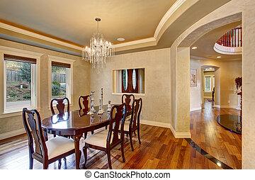 gyönyörű, szoba, klasszikus, dinning, chandelier., pohár