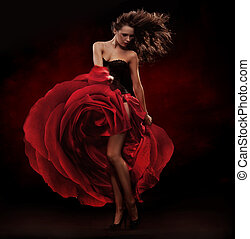 gyönyörű, táncos, fárasztó, piros ruha