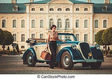 gyönyörű, táska, átváltható, hölgy, klasszikus
