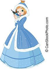 gyönyörű, tél, hercegnő, noha, bir