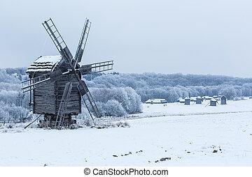 gyönyörű, tél, szélmalom, táj, alatt, ukrajna