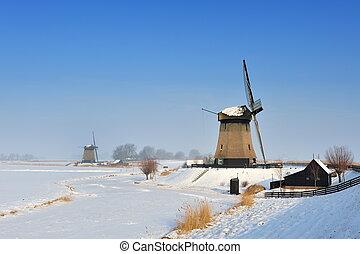 gyönyörű, tél, szélmalom, táj