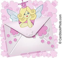 gyönyörű, tündér, levél