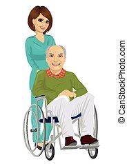 gyönyörű, türelmes, tolószék, fiatal, idősebb ember, ápoló
