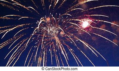 gyönyörű, tűzijáték, előadás, alatt, a, éjszaka ég