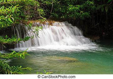 gyönyörű, tartomány, vízesés, rainforest, thai ember,...