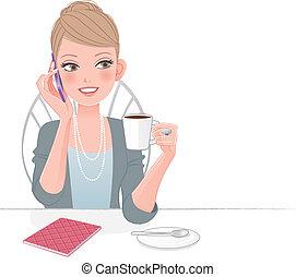 gyönyörű, telefon, végrehajtó, woman társalgás
