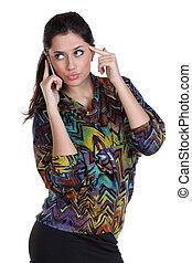 gyönyörű, telefon woman, fiatal, hívás
