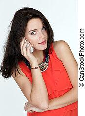 gyönyörű, telefon woman, hívás