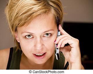 gyönyörű, telefon woman, szőke, hívás