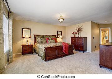 gyönyörű, teljes, carpet., arany-, ágynemű, hálószoba