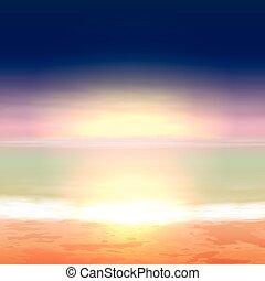 gyönyörű, tenger, sunset., tropikus, háttér.