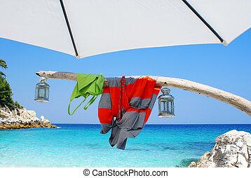 gyönyörű, tengerpart, északi, görögország