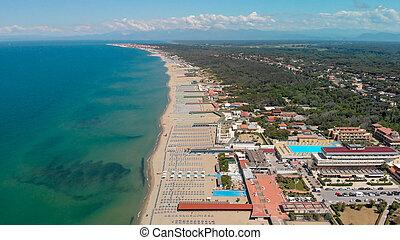gyönyörű, tengerpart, antenna, summertime idő, kilátás