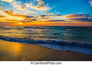 gyönyörű, tengerpart, dubai, napnyugta, tenger, tengerpart
