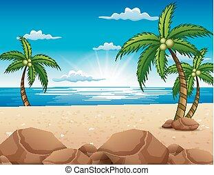 gyönyörű, tengerpart, napkelte, kilátás