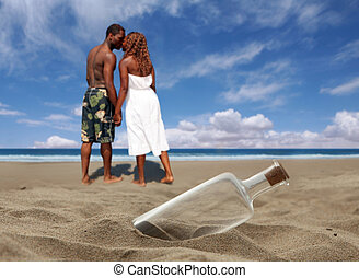 gyönyörű, tengerpart, noha, bedugaszolt, palack