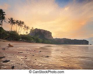 gyönyörű, tengerpart, noha, színes, ég, thaiföld