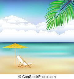 gyönyörű, tengerpart, táj