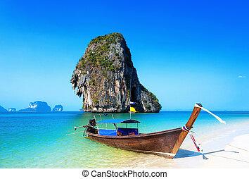 gyönyörű, tengerpart., tropikus, csónakázik, thaiföld, táj