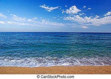 gyönyörű, tengertől távol eső, seascape., lloret, ellen-, elront, spain.