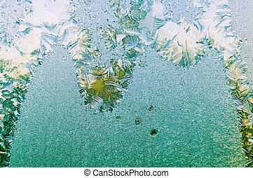 gyönyörű, természetes példa, pohár ablak, jeges