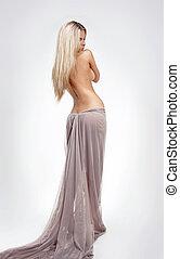 gyönyörű, test, mód, női, egyenes, hosszú szőr, szőke, formál, törődik