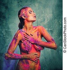 gyönyörű, test, nő, művészet, fiatal, fogalmi, színpompás