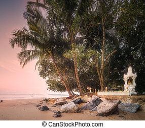gyönyörű, thaiföld, folyó, tengerpart, napkelte