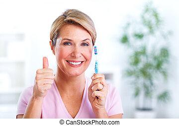 gyönyörű, toothbrush., senior woman