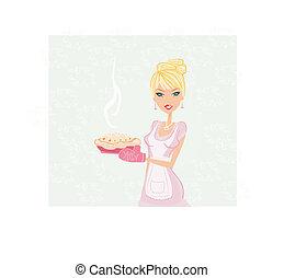 gyönyörű, torta, főzés, hölgy
