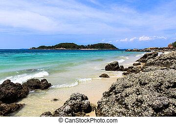 gyönyörű, tropikus, tengerpart., thaiföld