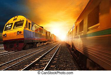 gyönyörű, utas, alkalmaz, állhatatos, konténer, ügy, útvonal, vasutak, iparág, vasutak, ellen, futás, vidék, munkaszervezési, kíséret, nap, szállít, ég